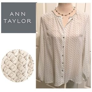 Ann Taylor, Marble Buttoned Down, Silk Blouse